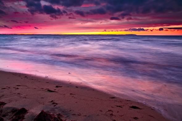 Skymning över Råbocka strand