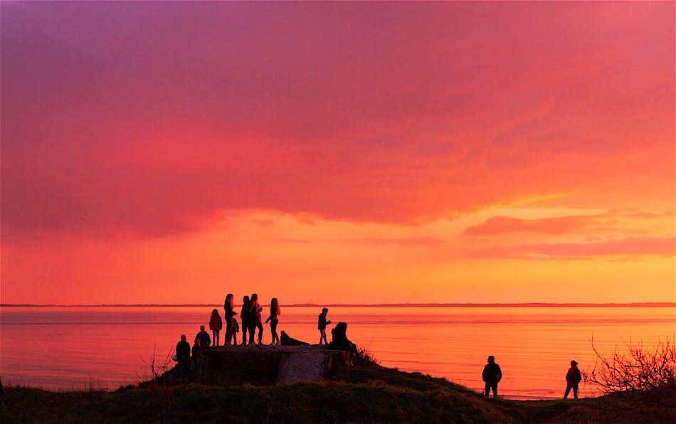 Solnedgång under Valborg vid Sven Jons udde