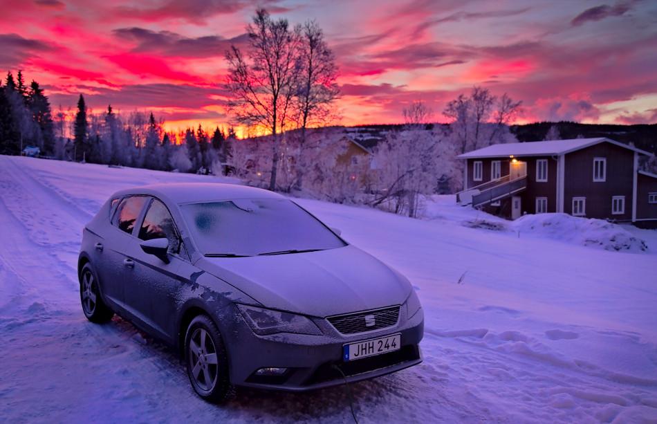 Seat Leon i snö