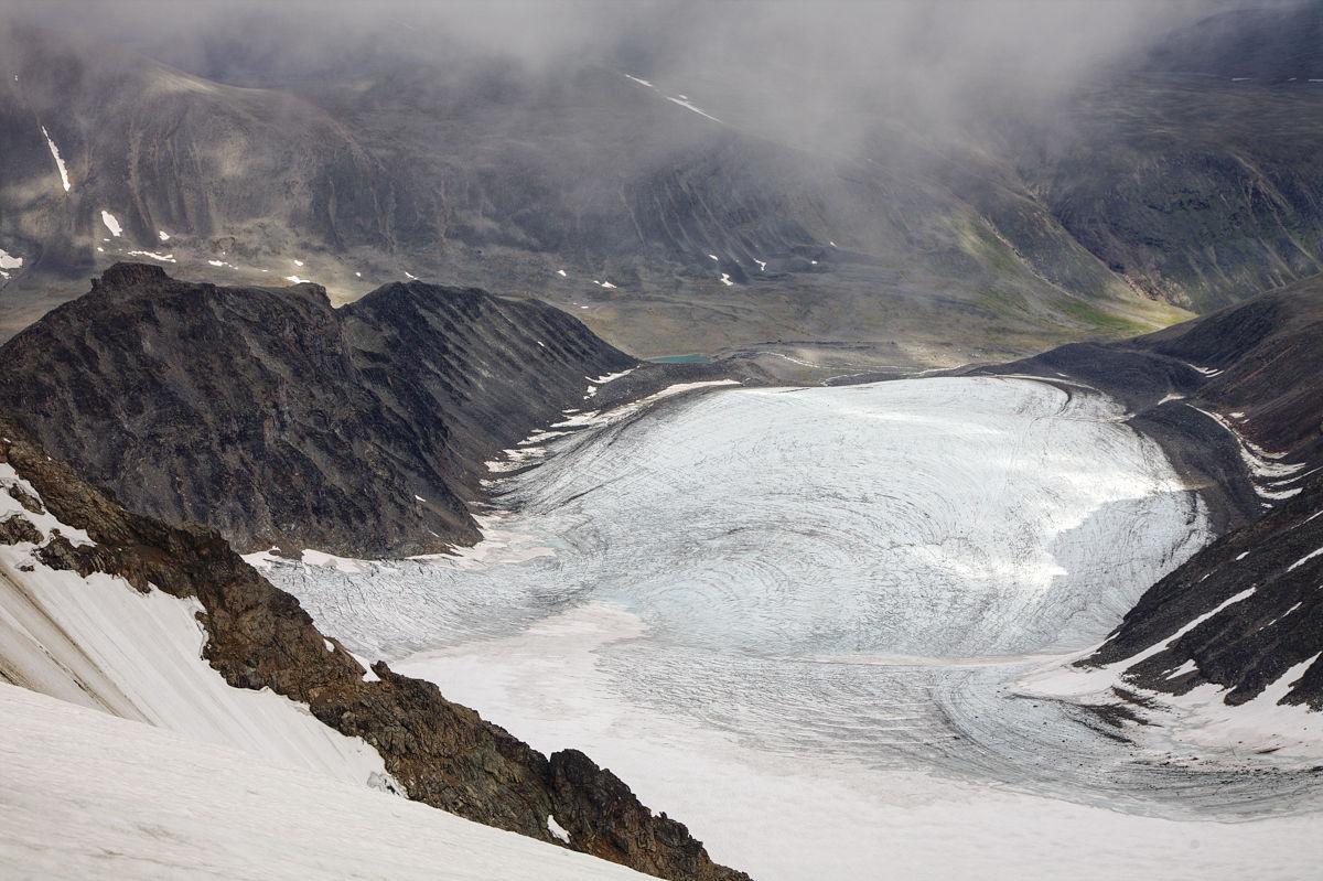 Vy över Storglaciären och Tarfala