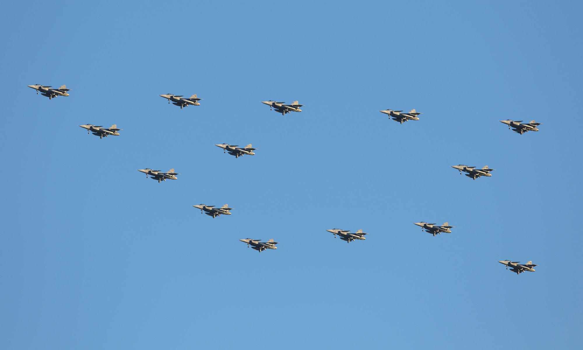 Julgransflygning med JAS 39 Gripen