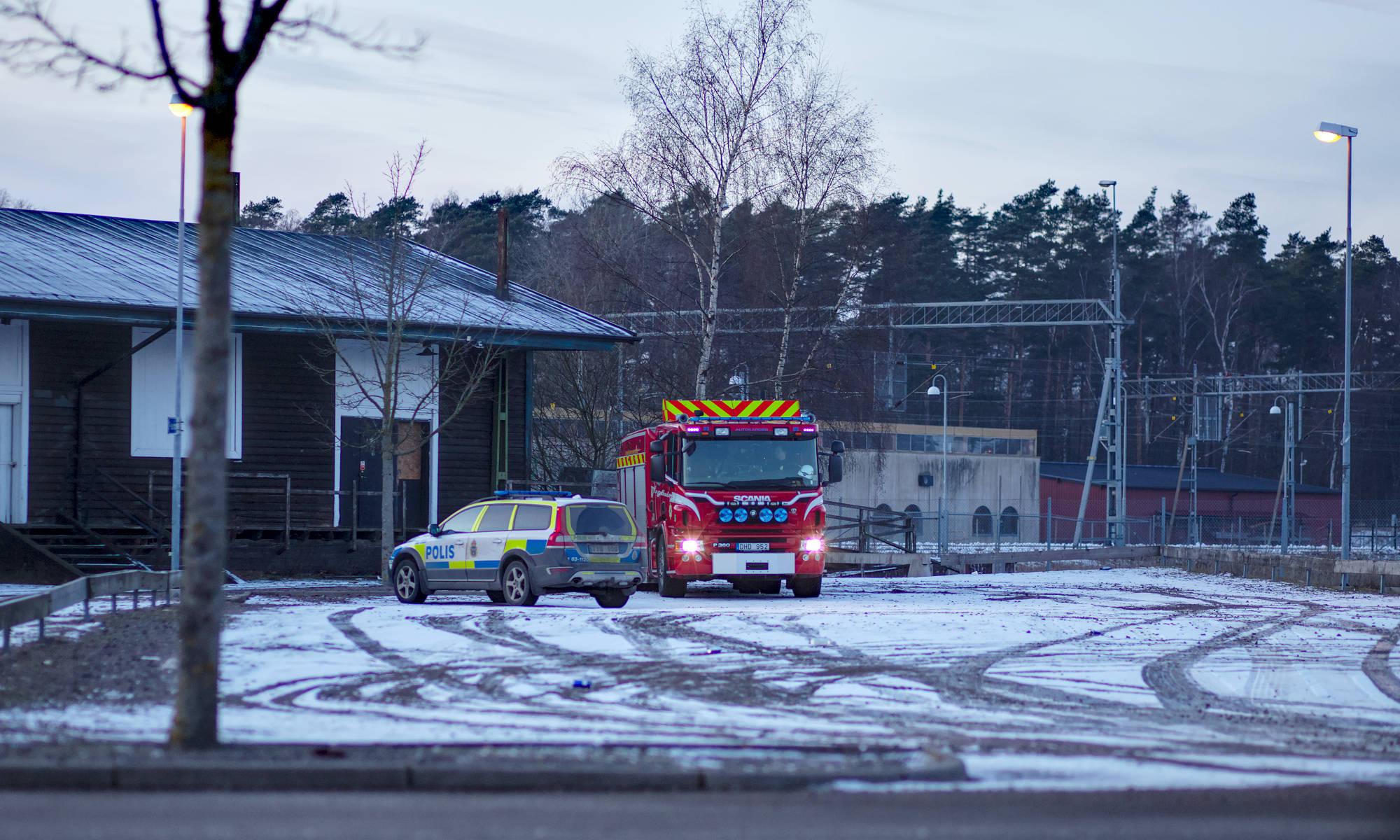 Polis och räddningstjänst vid gamla Bahnhof