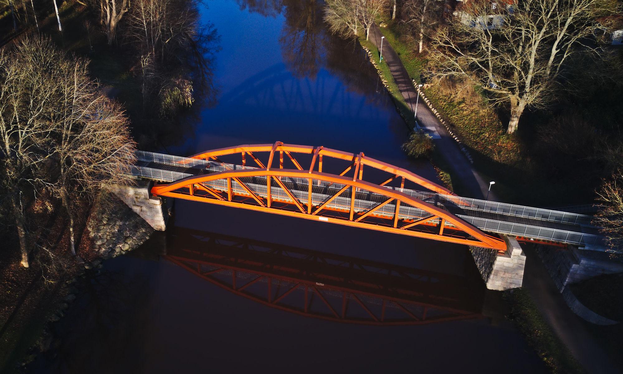 Flygfoto över Pyttebron i Ängelholm