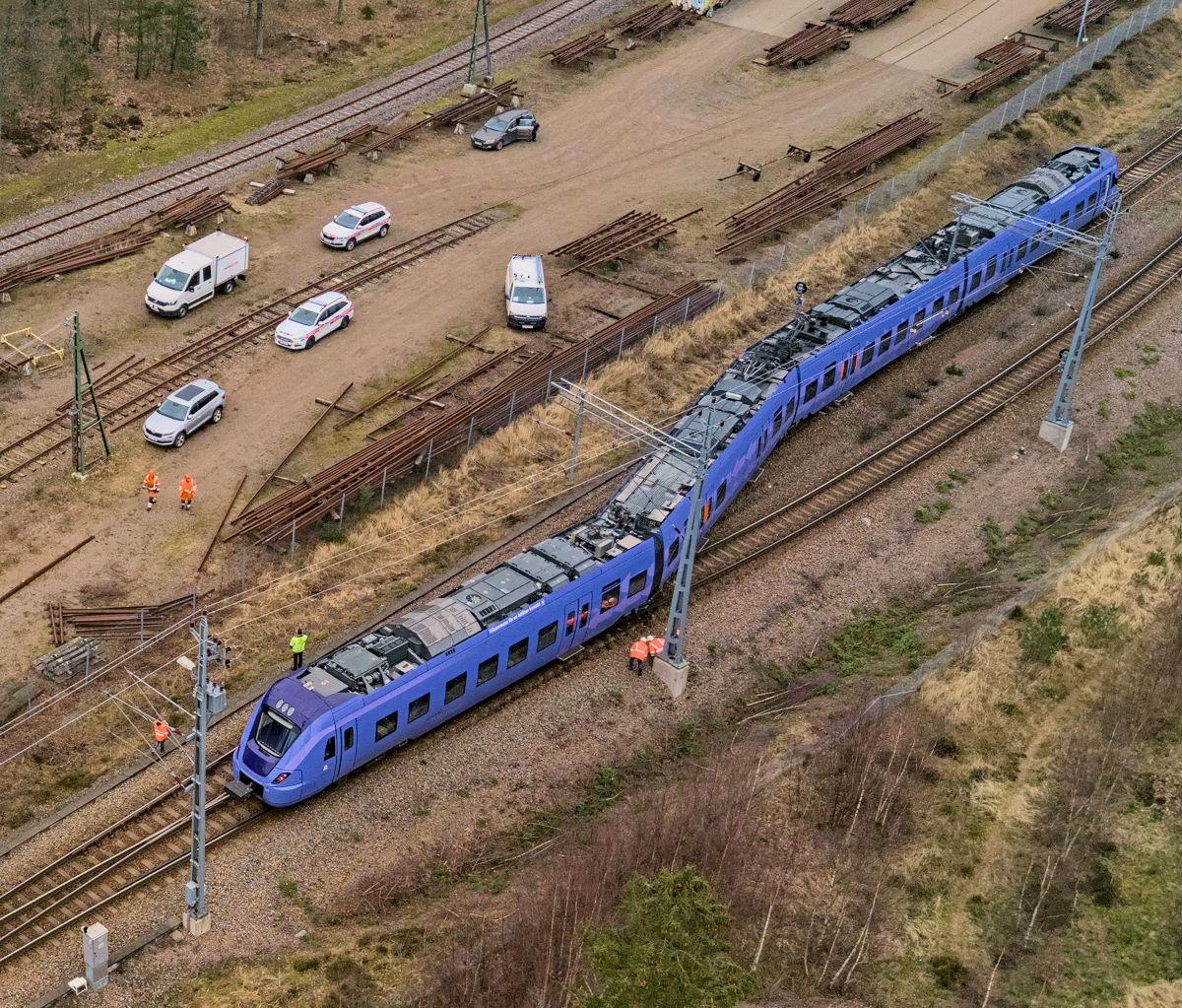 Flygfoto över tågurspårning