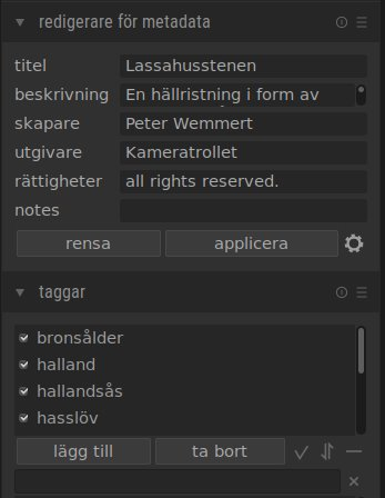 Metadata för darktable