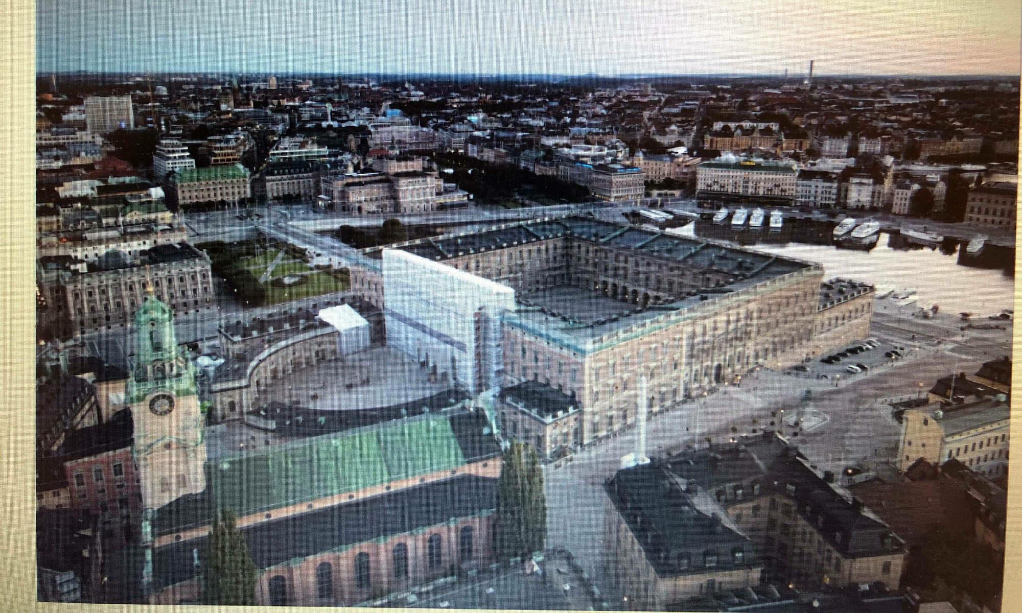 Bild över Stockholms slott från polisens förundersökningsprotokoll