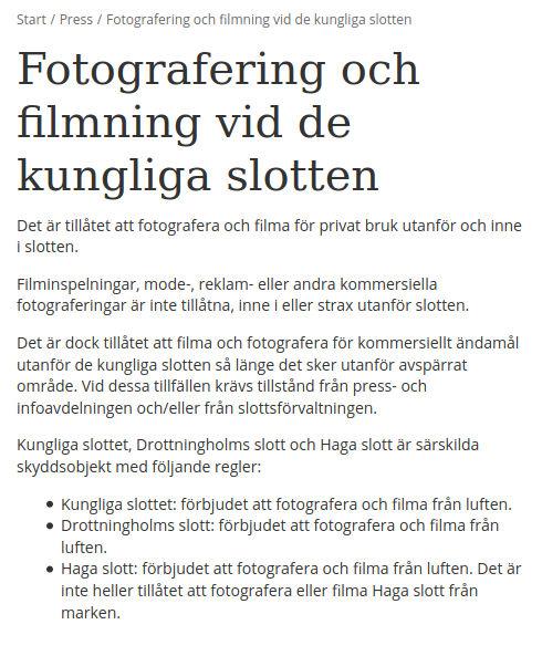 Fotoförbud kungliga slotten