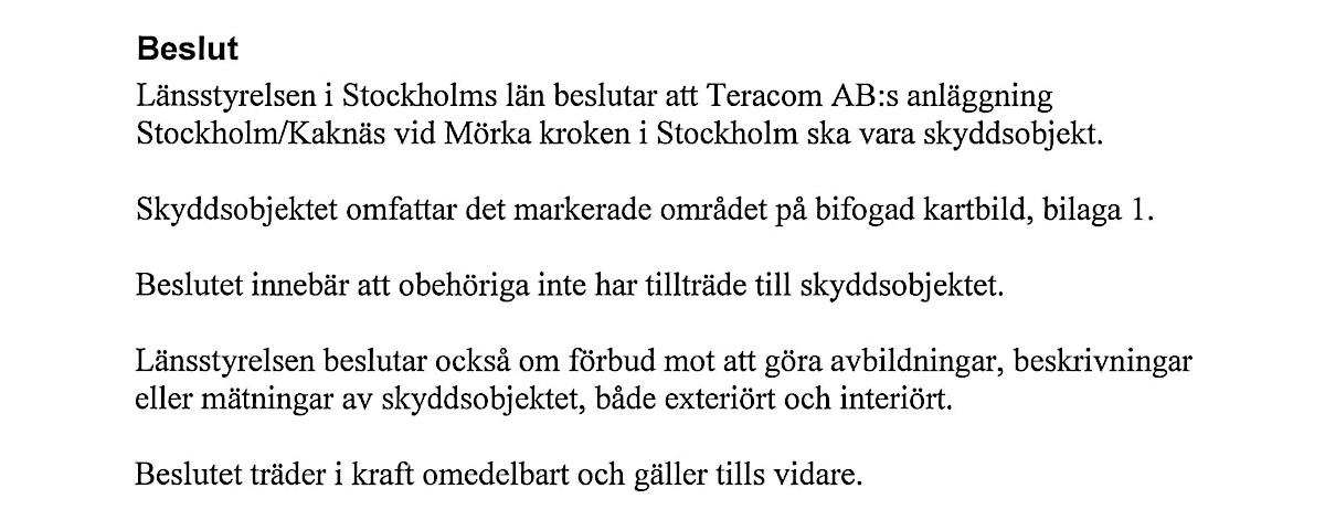 Länsstyrelsens beslut över Kaknästornet och dess avbildningsförbud